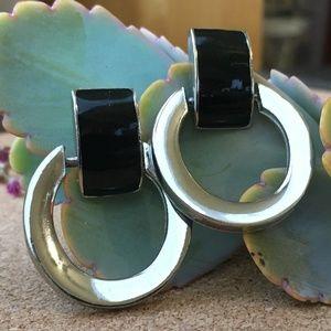 VTG Geometric Silver & Black Door Knocker Earrings